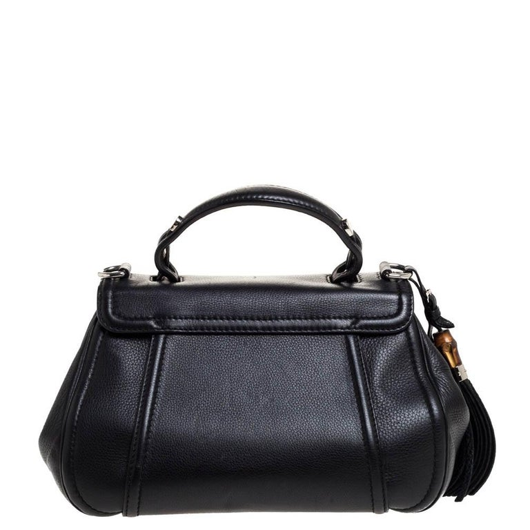 Gucci Black Leather Techno Horsebit Top Handle Bag For Sale 3