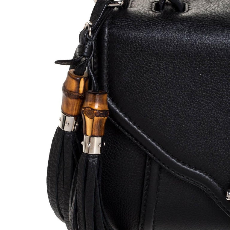 Gucci Black Leather Techno Horsebit Top Handle Bag For Sale 4