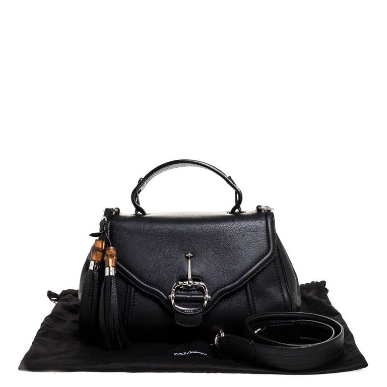 Gucci Black Leather Techno Horsebit Top Handle Bag For Sale 5