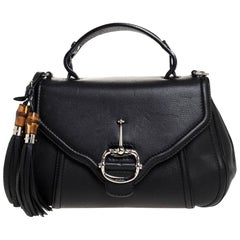 Gucci Black Leather Techno Horsebit Top Handle Bag