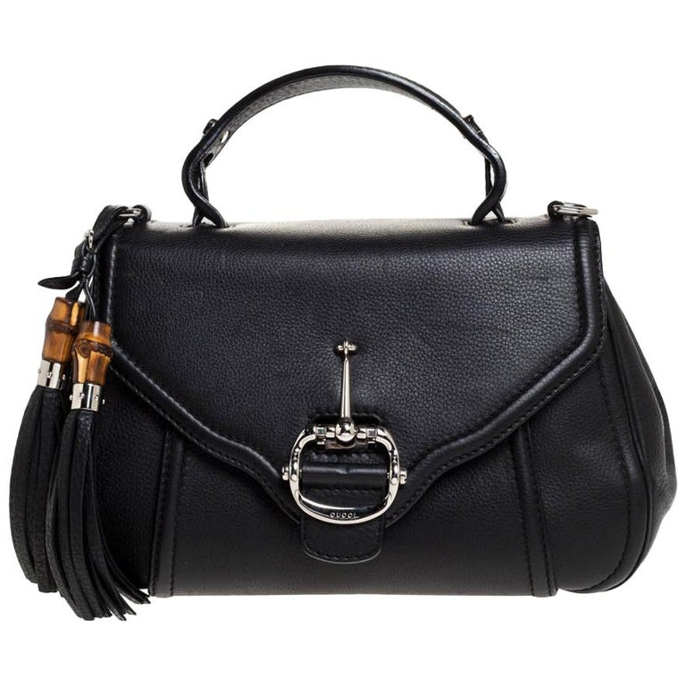 Gucci Black Leather Techno Horsebit Top Handle Bag For Sale