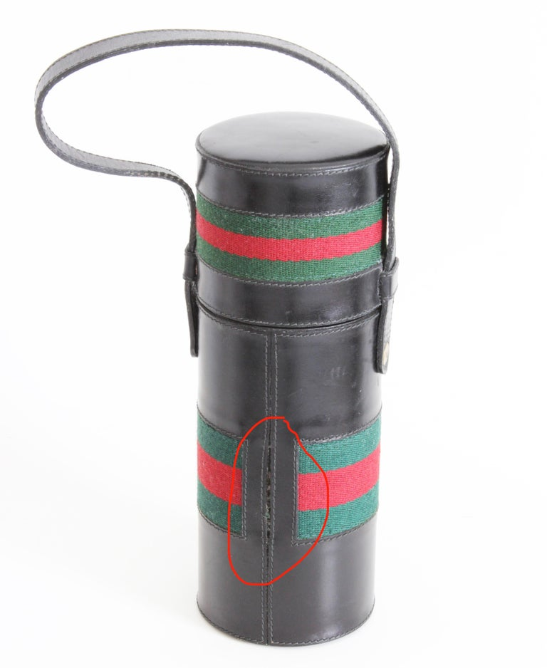 Gucci Black Leather Thermos Tote Bag Red Green Webbing Barware 1970s For Sale 10