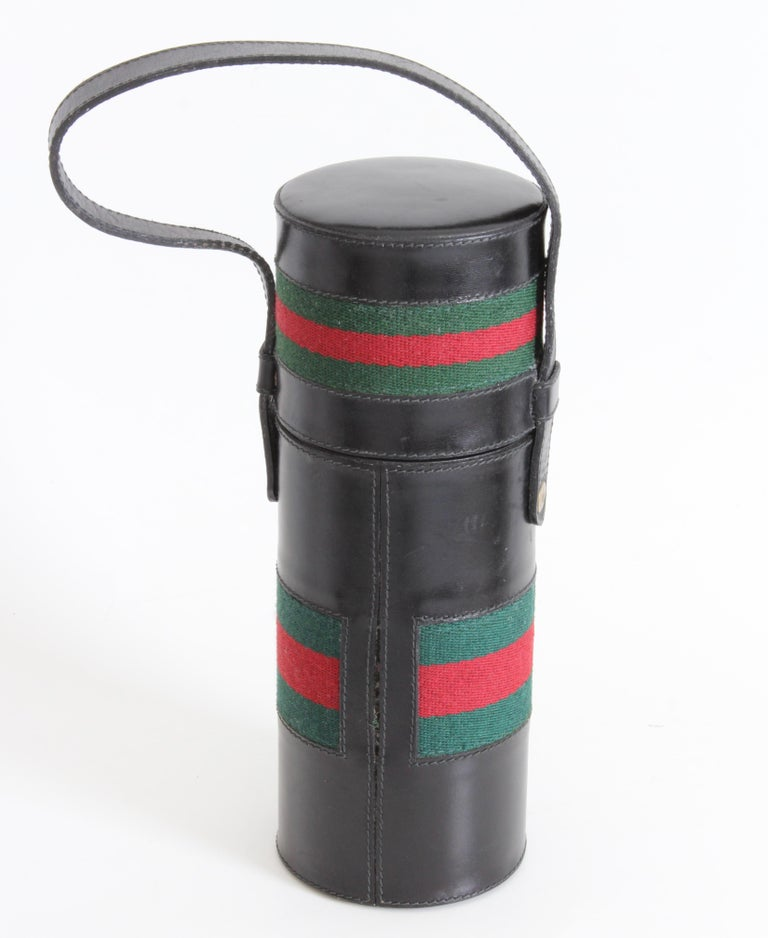 Women's or Men's Gucci Black Leather Thermos Tote Bag Red Green Webbing Barware 1970s For Sale
