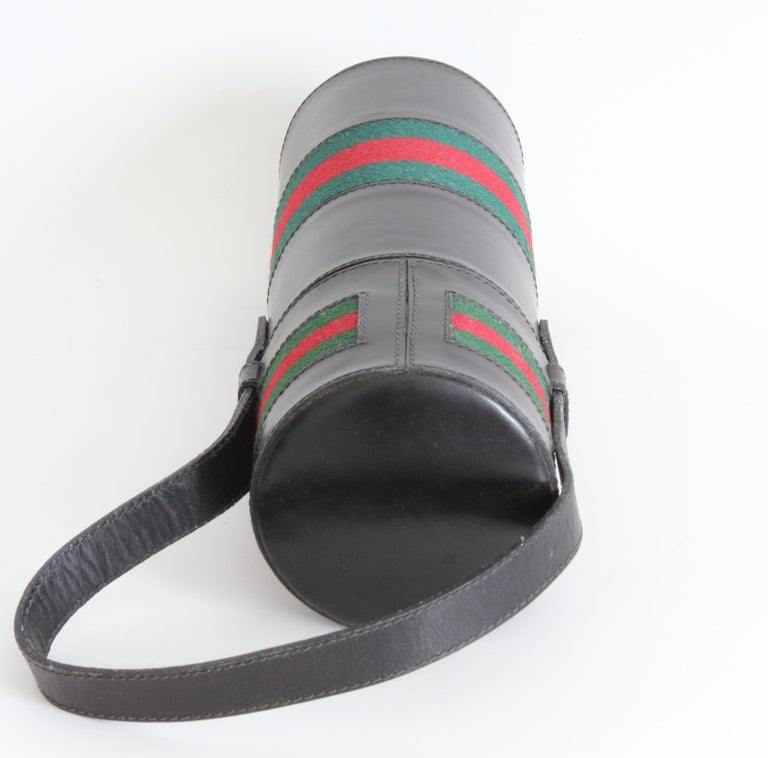 Gucci Black Leather Thermos Tote Bag Red Green Webbing Barware 1970s For Sale 2