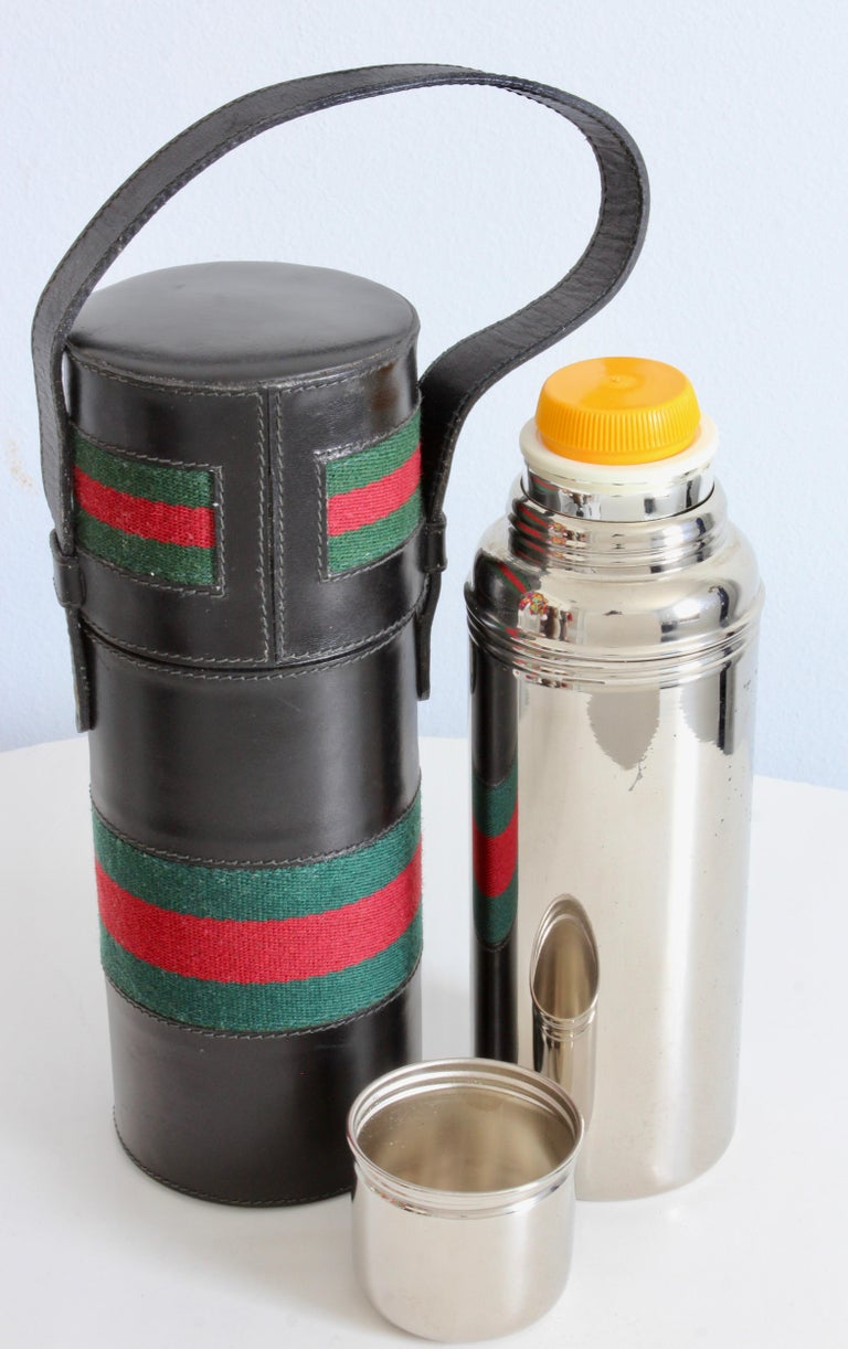 Gucci Black Leather Thermos Tote Bag Red Green Webbing Barware 1970s For Sale 4