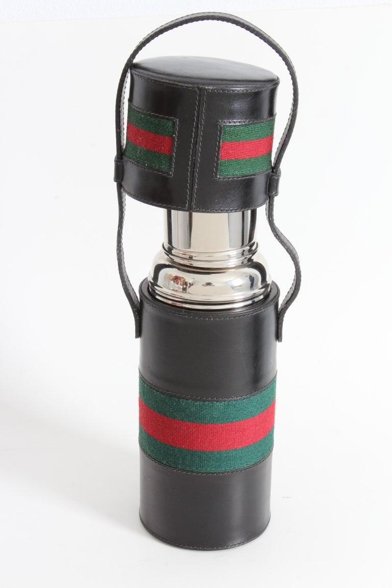 Gucci Black Leather Thermos Tote Bag Red Green Webbing Barware 1970s For Sale 5