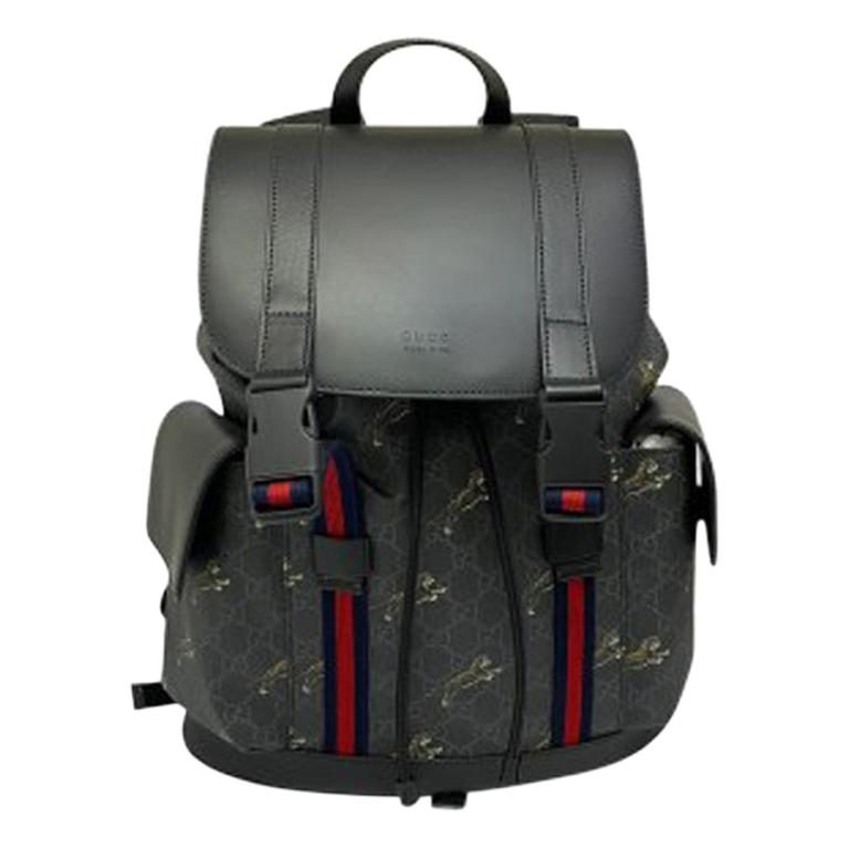 Gucci Black Leather Tiger Backpack