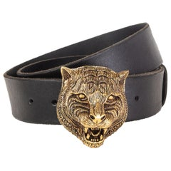 GUCCI black leather TIGER HEAD BUCKLE Belt 90 / 36