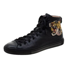 Gucci Black Leather Tiger Patch High Top Sneakers Size 42