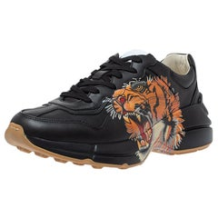 Gucci Black Leather Tiger Rhyton Low Top Sneakers Size 40
