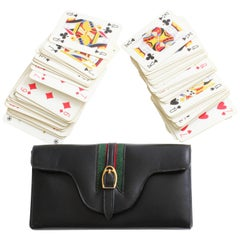 Gucci Black Leather Travel Game Set with Two Decks of Playing Cards, 1970s