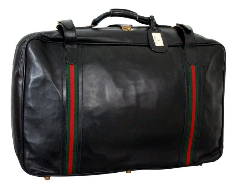 gucci black leather travel luggage set bag 1970s for sale