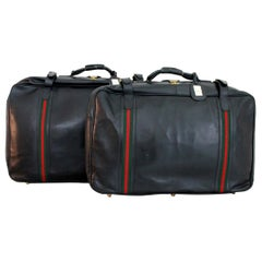 Gucci Black Leather Travel Luggage Set Bag 1970s