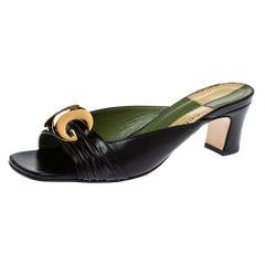 Gucci Black Leather Usagi Slide Sandals Size 39.5