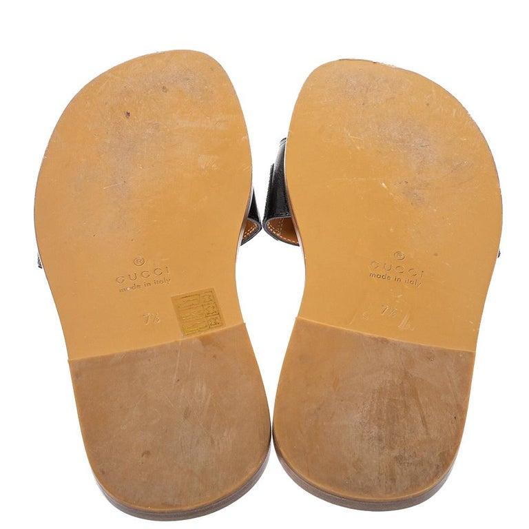 Women's Gucci Black Leather Varadero Horsebit Slide Sandals Size 41.5 For Sale