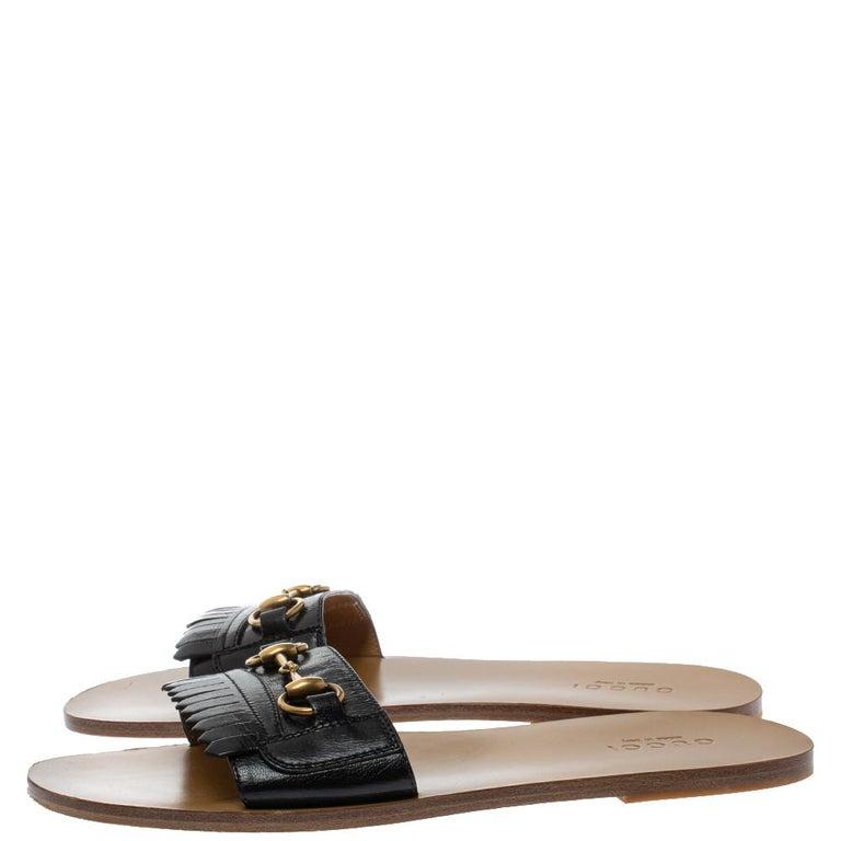 Gucci Black Leather Varadero Horsebit Slide Sandals Size 41.5 For Sale 1