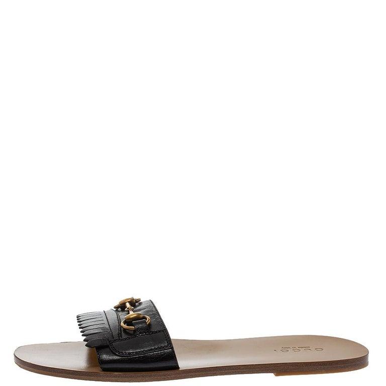 Gucci Black Leather Varadero Horsebit Slide Sandals Size 41.5 For Sale 3