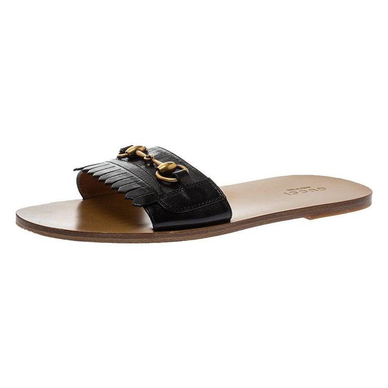 Gucci Black Leather Varadero Horsebit Slide Sandals Size 41.5 For Sale