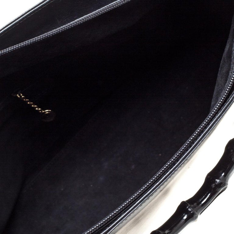 Gucci Black Leather Vintage Bamboo Tote For Sale 8