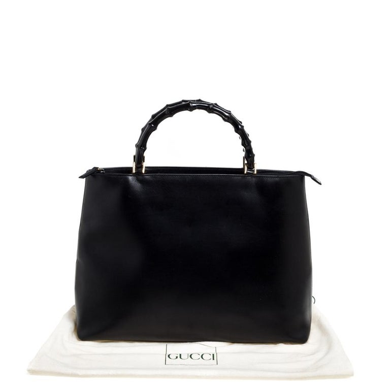 Gucci Black Leather Vintage Bamboo Tote For Sale 9