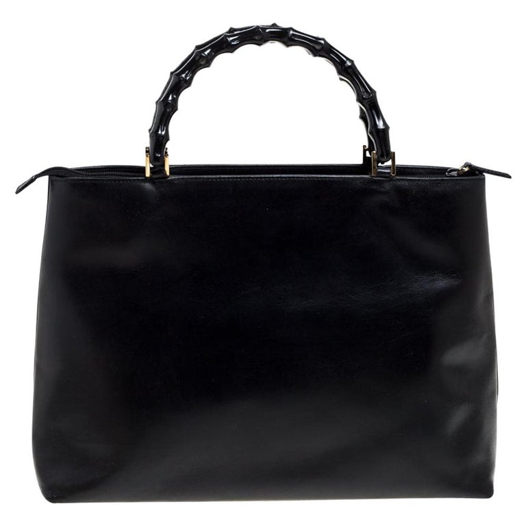 Gucci Black Leather Vintage Bamboo Tote For Sale