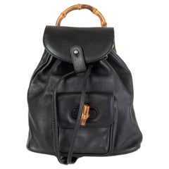 GUCCI black leather VINTAGE MINI Backpack Bag