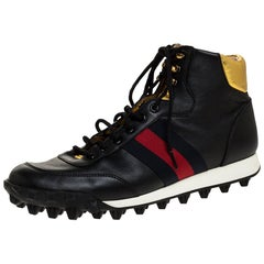 Gucci Black Leather Web Detail High Top Sneakers Size 42