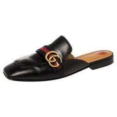 Gucci Black Leather Web GG Logo Flat Mules Size 41