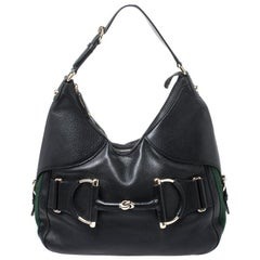Gucci Black Leather Web Horsebit Heritage Hobo