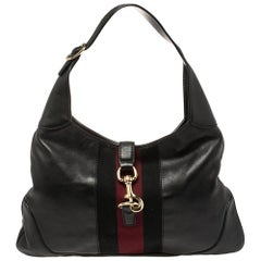Gucci Black Leather Web Jackie O Hobo
