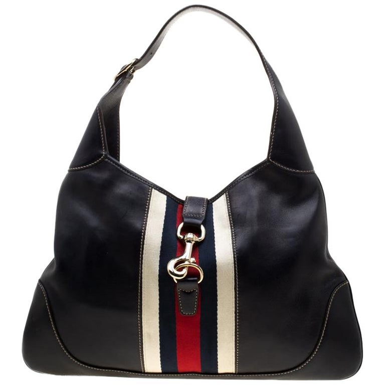93db7311 Gucci Black Leather Web Jackie O Hobo For Sale at 1stdibs