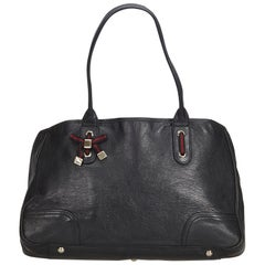 Gucci Black  Leather Web Princy Tote Bag Italy