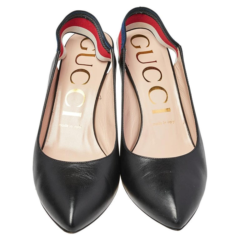 Amp up any outfit with these Gucci Sylvie pumps. Crafted from leather in Italy, they feature the signature web strap as elastic slingbacks with pointed toes and sleek stiletto heels. The grand black shade adds to this pair in a fashionable