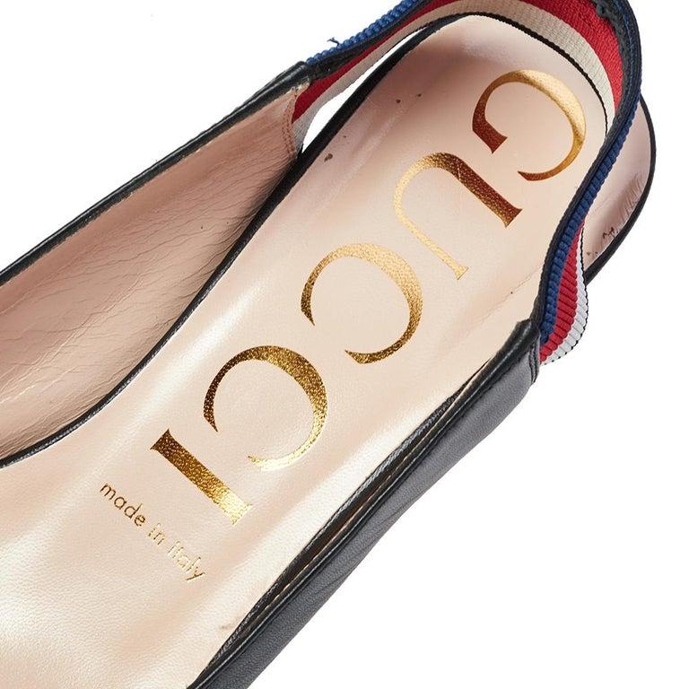 Gucci Black Leather Web Sylvie Singback Pumps Size 38 In Good Condition For Sale In Dubai, Al Qouz 2