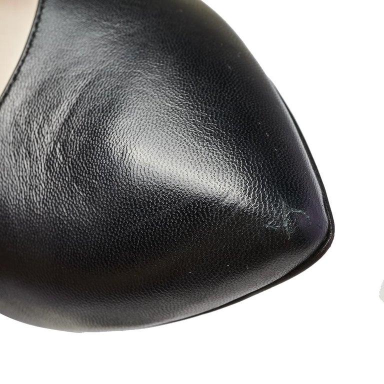 Gucci Black Leather Web Sylvie Singback Pumps Size 38 For Sale 1