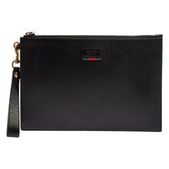 Gucci Black Leather Web Wristlet Pouch