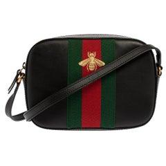 Gucci Black Leather Webby Bee Shoulder Bag