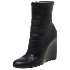 Gucci Black Leather Wedge Ankle Boots Size 37.5