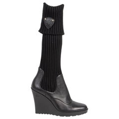 Gucci Black Leather Wedge Sock Boots - size 41
