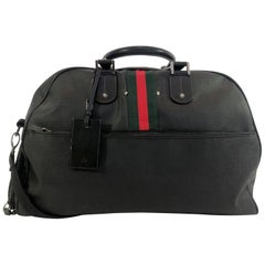 Gucci Black Leather Weekender Suitcase with Classic Green and Red Stripe