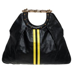Gucci Black Leather Yellow Striped Metal Bamboo Tote