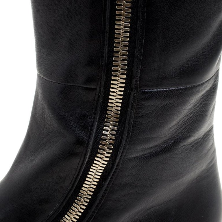 Gucci Black Leather Zip Up Knee Length Boots Size 40 For Sale 8