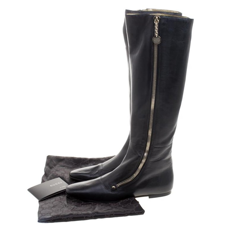 Gucci Black Leather Zip Up Knee Length Boots Size 40 For Sale 9