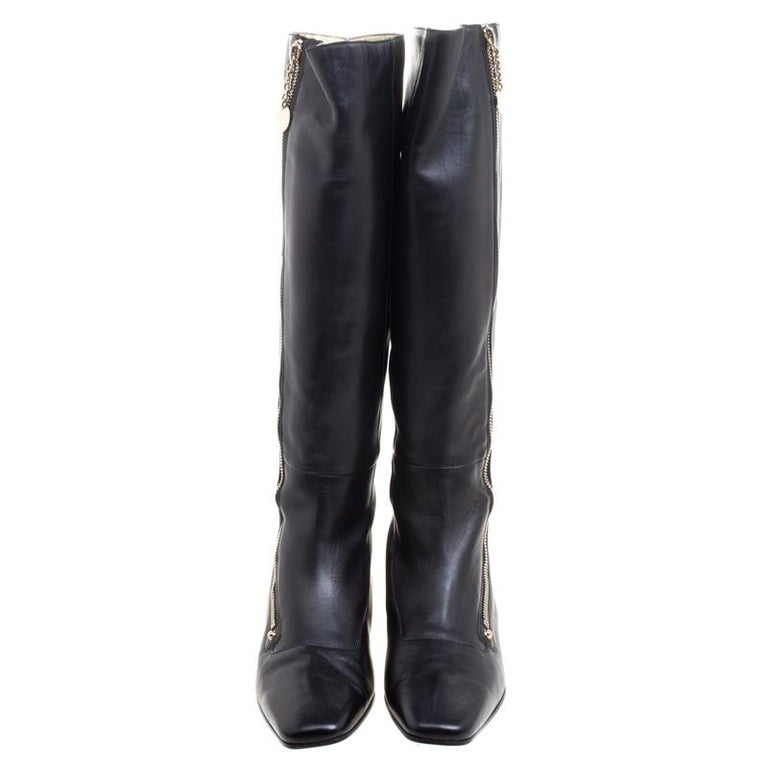 Gucci Black Leather Zip Up Knee Length Boots Size 40 For Sale 1