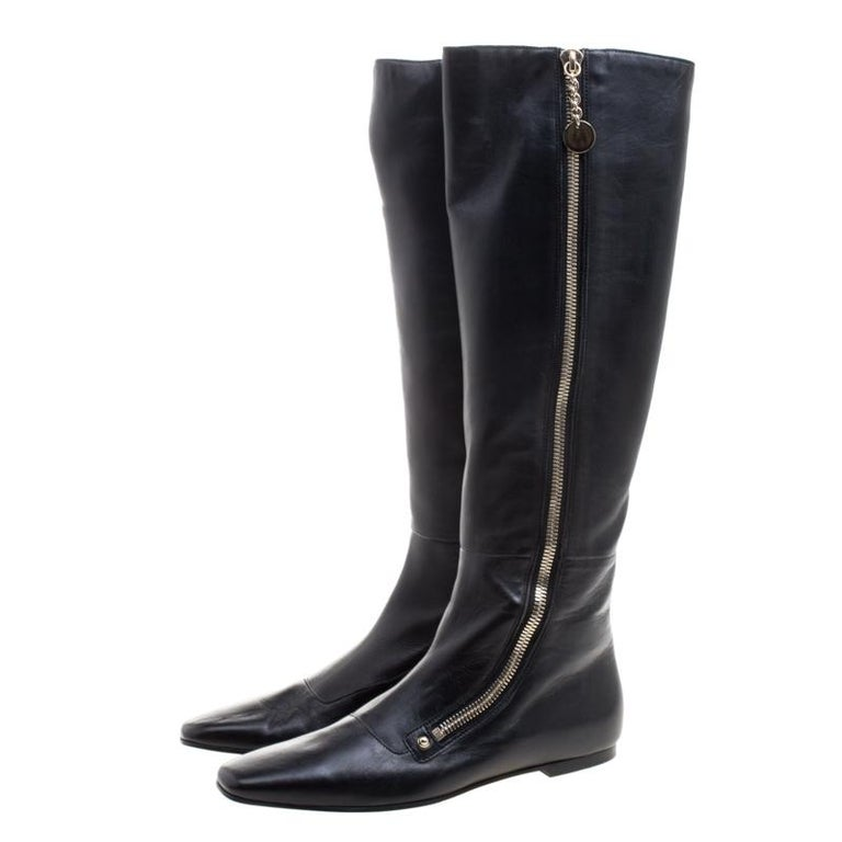 Gucci Black Leather Zip Up Knee Length Boots Size 40 For Sale 2