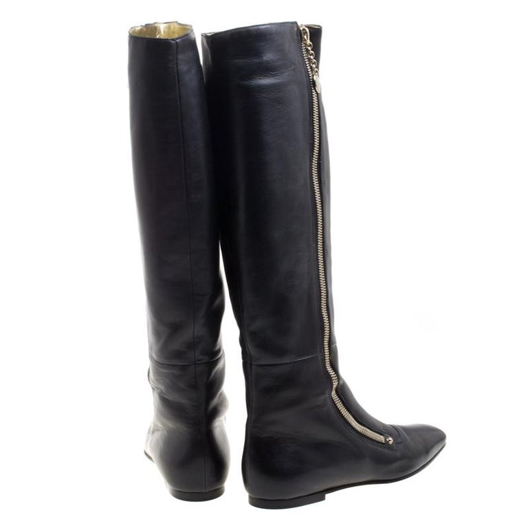 Gucci Black Leather Zip Up Knee Length Boots Size 40 For Sale 3