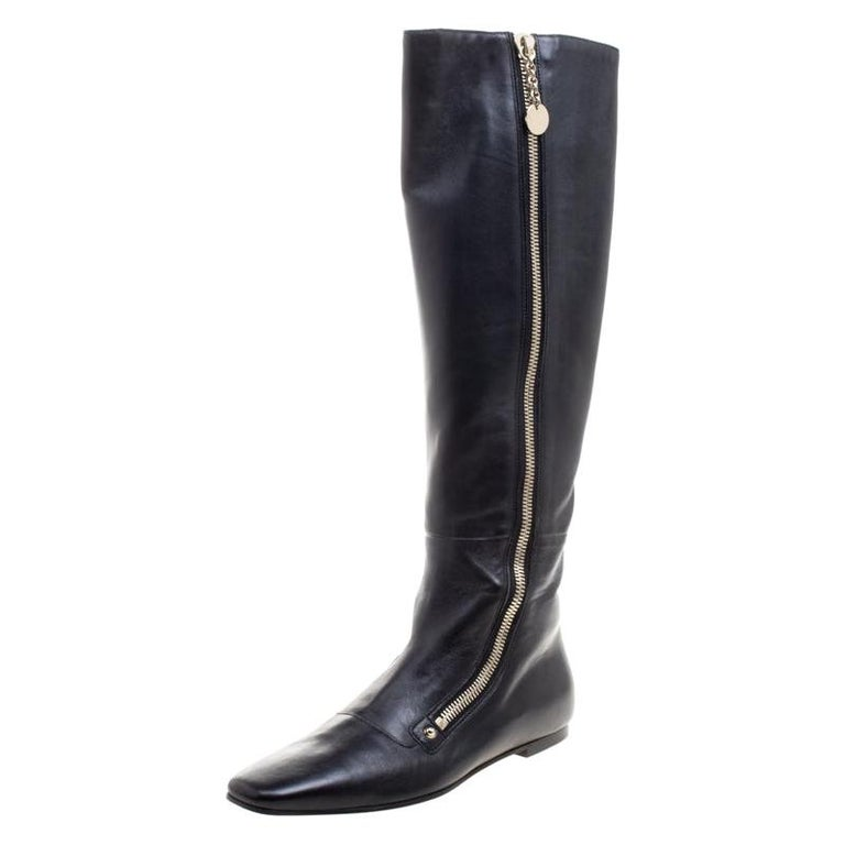 Gucci Black Leather Zip Up Knee Length Boots Size 40 For Sale