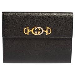 Gucci Black Leather Zumi Flap Clutch