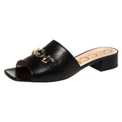 Gucci Black Leather Zumi Slide Sandals Size 40.5