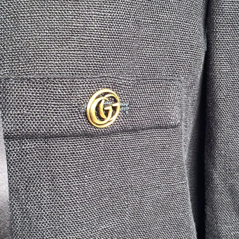 Women's Gucci Black Linen Jacket with Contrast Silk Collar Size 42 For Sale
